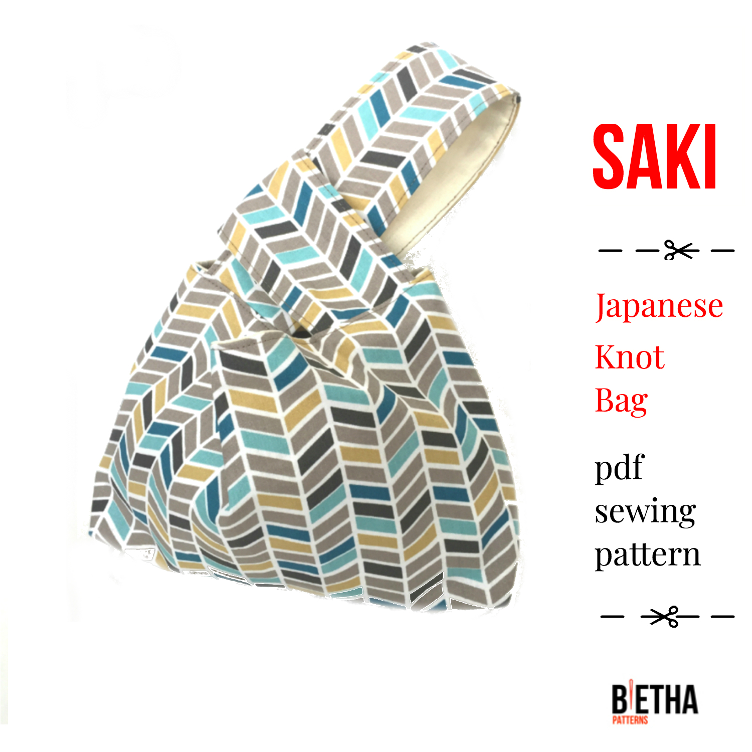Small Japanese Knot Bag Sewing PDF Pattern with gusset - Handbag ...